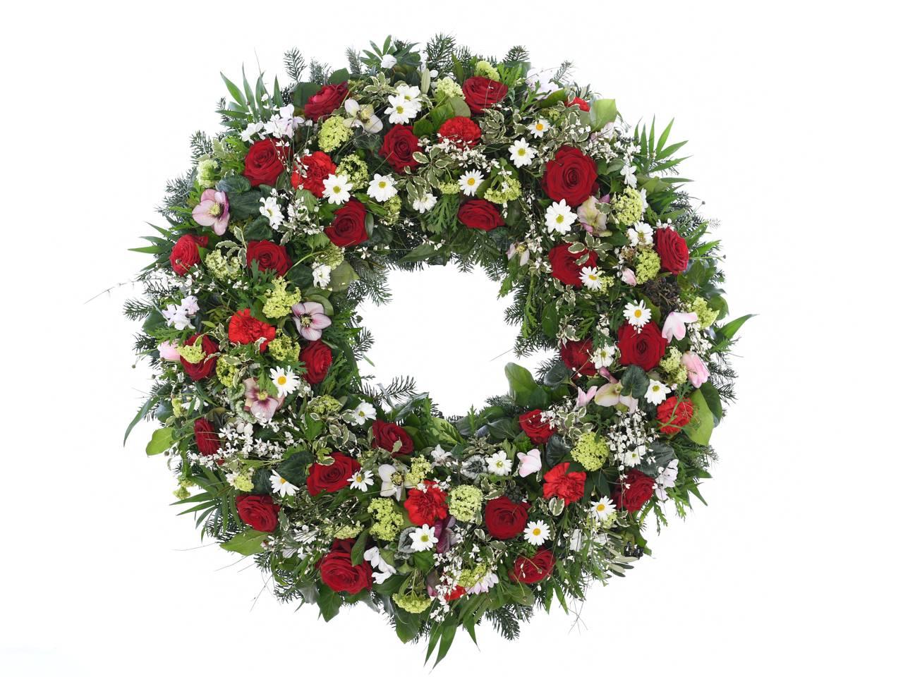 Biedermeier Kranz Rot Weiss Fotschl Blumen Wien Gartnerei Wien