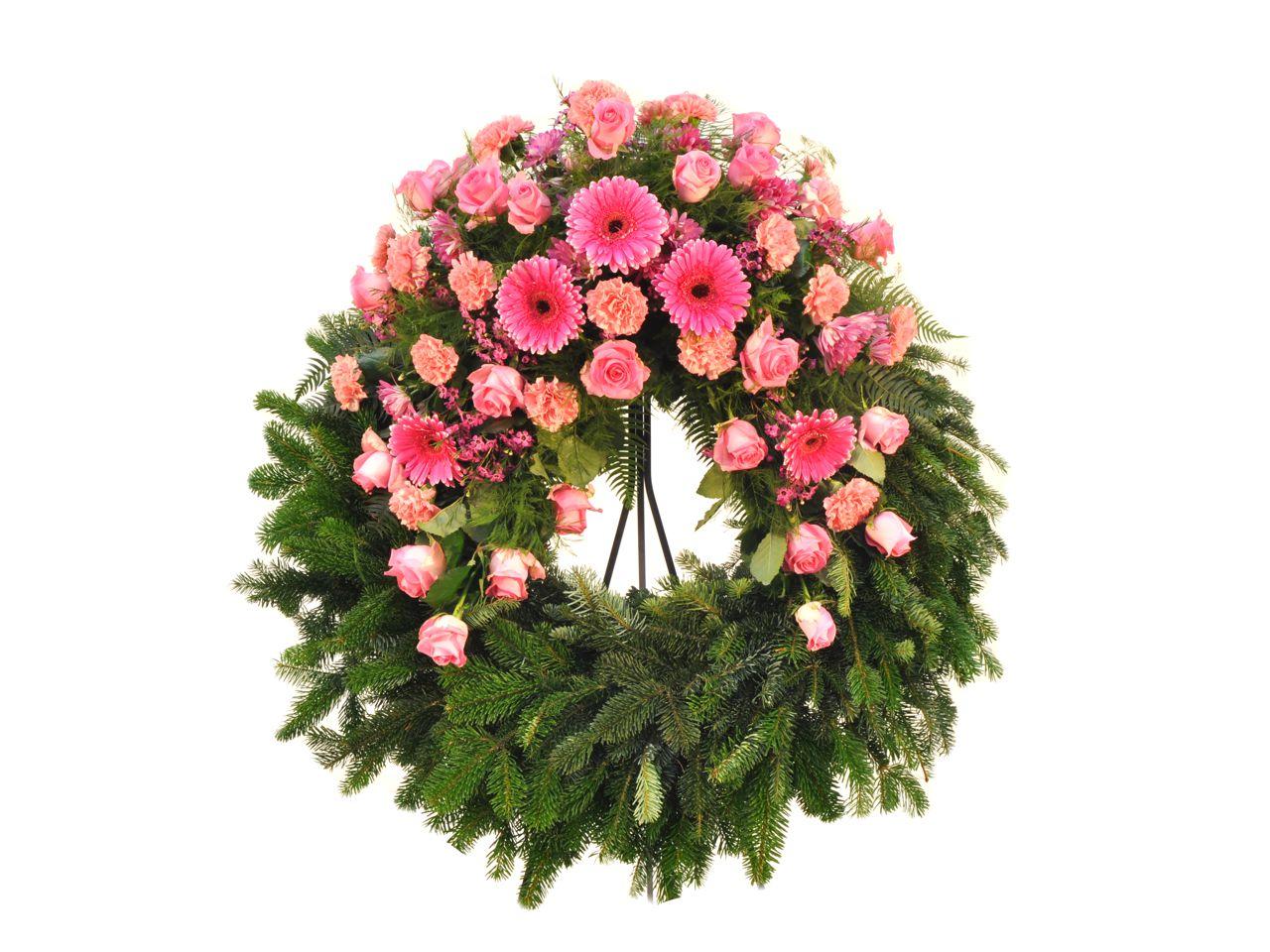 blumenkranz variante 2 in rosa f tschl blumen wien g rtnerei wien trauerfloristik kr nze. Black Bedroom Furniture Sets. Home Design Ideas